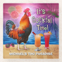 Funny Rooster Chicken Drinking Tropical Beach Name Glass Coaster