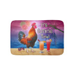 Funny Rooster Chicken Drinking Tropical Beach Sea Bathroom Mat