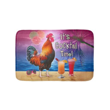 Beach Themed Funny Rooster Chicken Drinking Tropical Beach Sea Bathroom Mat