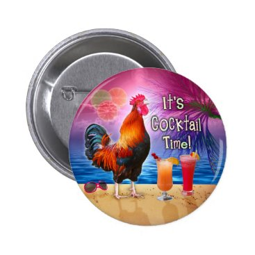 Beach Themed Funny Rooster Chicken Drinking Tropical Beach Sea Button