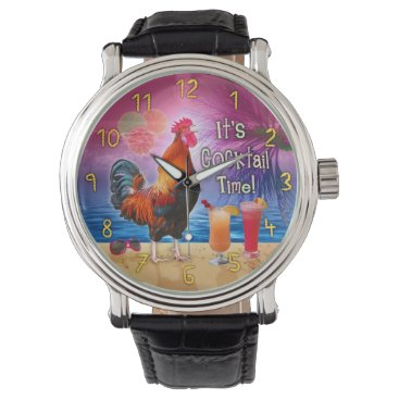 Beach Themed Funny Rooster Chicken Drinking Tropical Beach Sea Watch