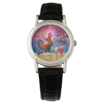 Beach Themed Funny Rooster Chicken Drinking Tropical Beach Sea Wrist Watch