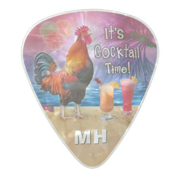 Beach Themed Funny Rooster Chicken Tropical Beach Monogrammed Pearl Celluloid Guitar Pick