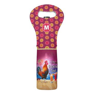 Beach Themed Funny Rooster Chicken Tropical Beach Monogrammed Wine Bag