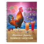 Funny Rooster Cocktails Tropical Beach Vacation Notebook