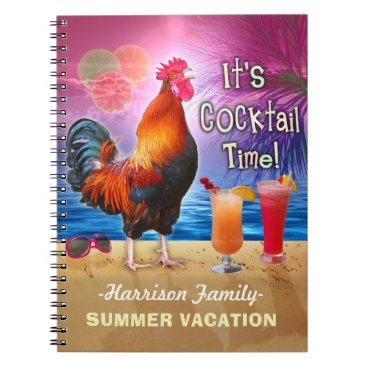 Beach Themed Funny Rooster Cocktails Tropical Beach Vacation Notebook