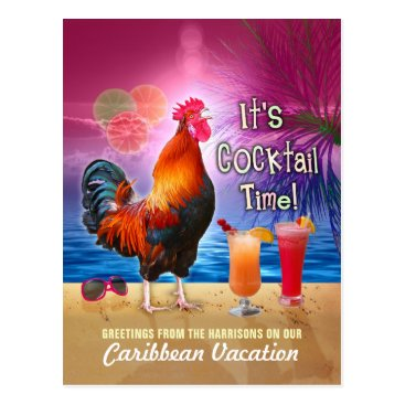 Beach Themed Funny Rooster Cocktails Tropical Beach Vacation Postcard