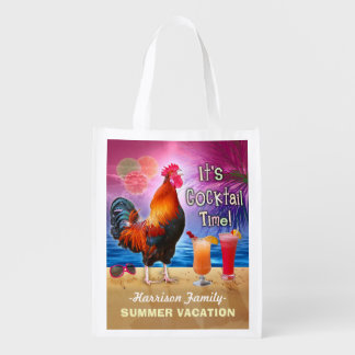 Funny Rooster Cocktails Tropical Beach Vacation Reusable Grocery Bag