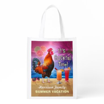 Beach Themed Funny Rooster Cocktails Tropical Beach Vacation Reusable Grocery Bag