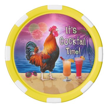 Beach Themed Funny Rooster Drinking Tropical Beach Sea | Custom Set Of Poker Chips