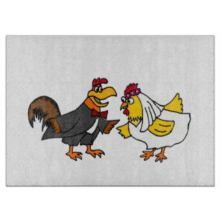 Funny Rooster Groom and Hen Bride Wedding Cutting Board