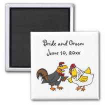 Funny Rooster Groom and Hen Bride Wedding Magnet