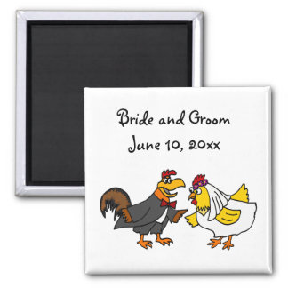 Funny Rooster Groom and Hen Bride Wedding 2 Inch Square Magnet