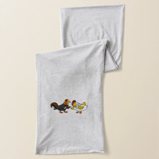 Funny Rooster Groom and Hen Bride Wedding Scarf