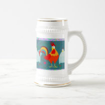 Funny Rooster Hen Funky Chicken Farm Animal Gifts Beer Stein