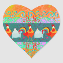 Funny Rooster Hen Funky Chicken Farm Animal Gifts Heart Sticker