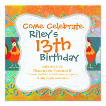 Funny Rooster Hen Funky Chicken Farm Animal Gifts Invitation