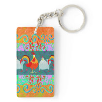 Funny Rooster Hen Funky Chicken Farm Animal Gifts Keychain