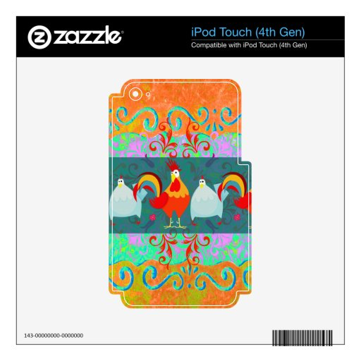 Funny Rooster Hen Funky Chicken Farm Animal Gifts iPod Touch 4G Skin