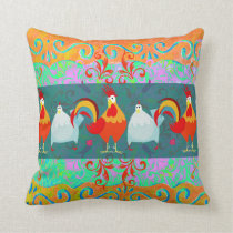 Funny Rooster Hen Funky Chicken Farm Animal Gifts Throw Pillow