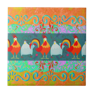 Funny Rooster Hen Funky Chicken Farm Animal Gifts Tiles