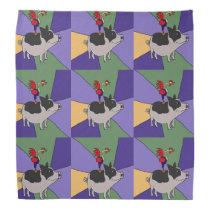 Funny Rooster on Pig Folk Art Bandana