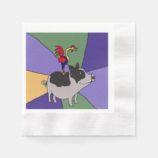 Funny Rooster on Pig Folk Art Disposable Napkin