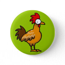 Funny rooster pinback button