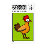 Funny rooster postage stamp
