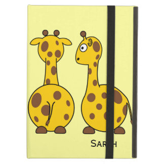Funny Round Belly Spotted Cartoon Giraffes Custom iPad Cover
