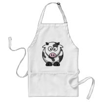 Funny Round Cartoon Cow with Pink Nose Adult Apron