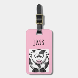 Funny Round Cartoon Cow with Pink Nose Custom Bag Tag