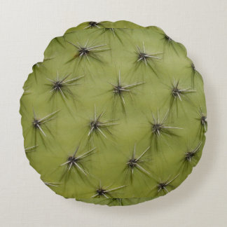 Funny round green cactus pricks throw pillow