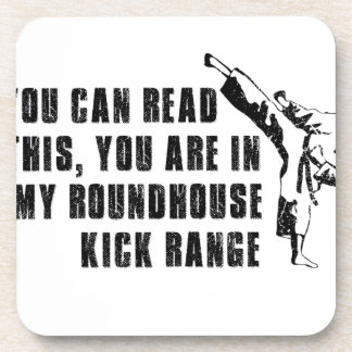 Funny roundhouse Kick Beverage Coaster