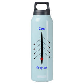 Funny rowing cox in charge sports insulated water bottle