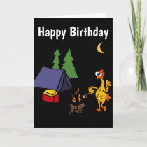 Funny Rubber Chicken Camping Cartoon Card