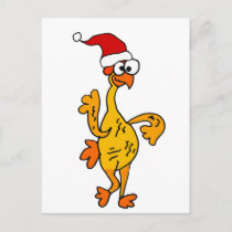 Funny Rubber Chicken Christmas Cartoon Holiday Postcard