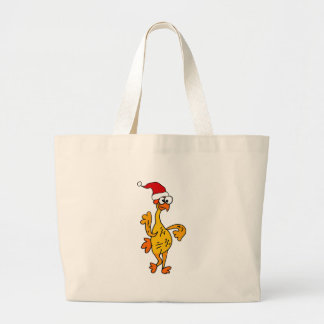 Funny Rubber Chicken Christmas Cartoon Large Tote Bag