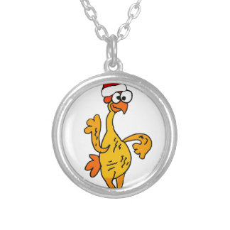 Funny Rubber Chicken Christmas Cartoon Silver Plated Necklace