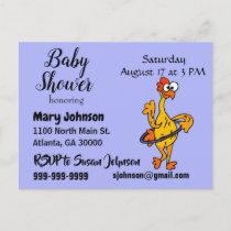 Funny Rubber Chicken Hula Hoop Baby Shower Invitation Postcard