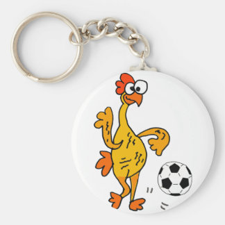 Funny Rubber Chicken Playing Soccer Cartoon Keychain