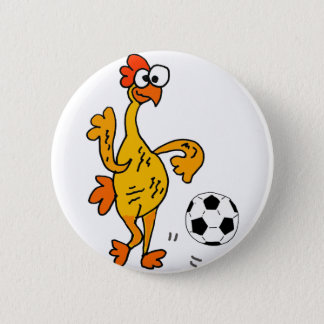 Funny Rubber Chicken Playing Soccer Cartoon Pinback Button