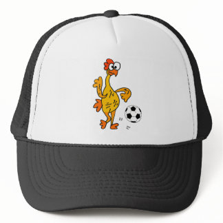 Funny Rubber Chicken Playing Soccer Cartoon Trucker Hat