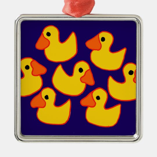 Funny Rubber Ducks Art Metal Ornament