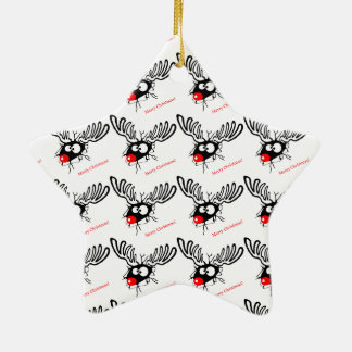 Funny Rudolf the Christmas Reindeer cracked wall Ceramic Ornament