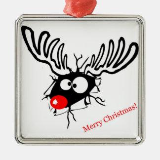 Funny Rudolf the Christmas Reindeer cracked wall Metal Ornament
