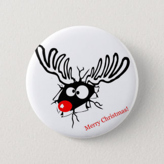 Funny Rudolf the Christmas Reindeer cracked wall Pinback Button