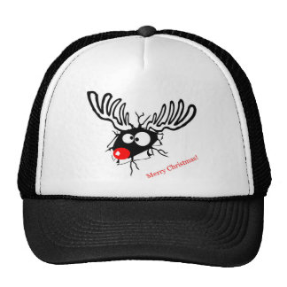 Funny Rudolf the Christmas Reindeer cracked wall Trucker Hat