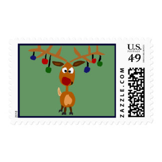 Funny Rudolph Red Nose Reindeer Christmas Art Postage Stamp