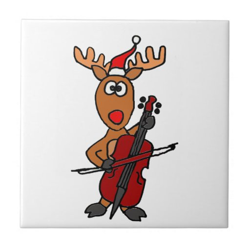 Funny Rudolph Reindeer Playing Cello Christmas Ceramic Tiles